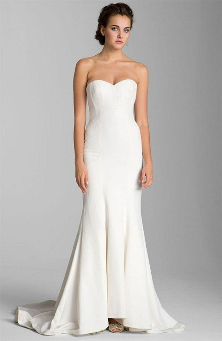 Plain white wedding dress-2778