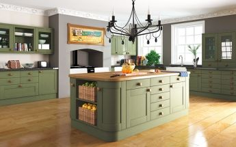 Paintable traditional style kitchen shown in green. Pronto Woodgrain Paintable Kitchen Doors - By BA Components.