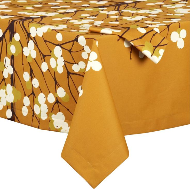 Marimekko Lumimarja Orange Tablecloth and Napkin in Tablecloths | Crate and Barrel