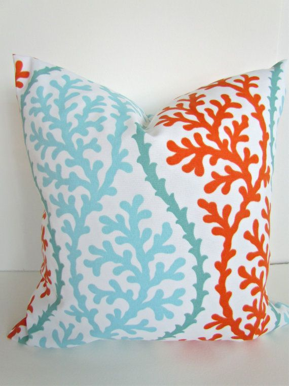 THROW PILLOWS 18x18 CORAL Throw Pillow Covers Orange Indoor Outdoor Pillow 18 x 18 Aqua Mint  Green Outdoor Decorative Throw pillows Outdoor...