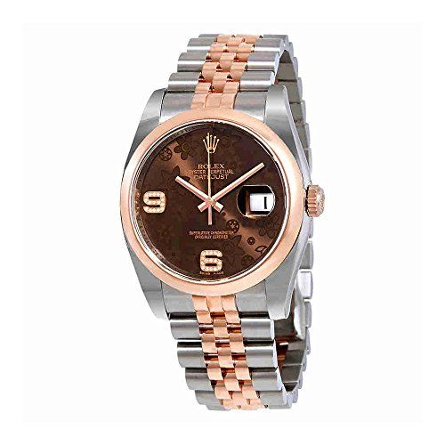 Rolex Datejust 36 Brown Floral Dial Steel and 18K Everose Gold Ladies Watch 1162...