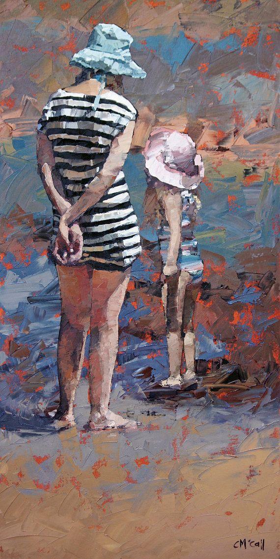 "6""x12"", 9"" x 18"", art print, of my, impressionist, beach painting, 'Mother & Daughter III'. Gift For Her, Home decor, Modern Art, Beach art"
