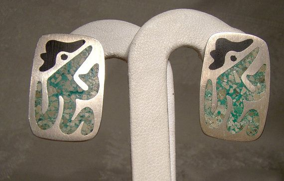 Abstract Mexican STERLING Silver Earrings Inset Crushed