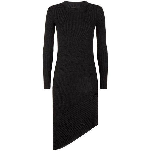 AllSaints Keld Ribbed Merino Dress (250 CAD) ❤ liked on Polyvore featuring dresses, allsaints, asymmetrical dress, rib dress, allsaints dress and merino dress