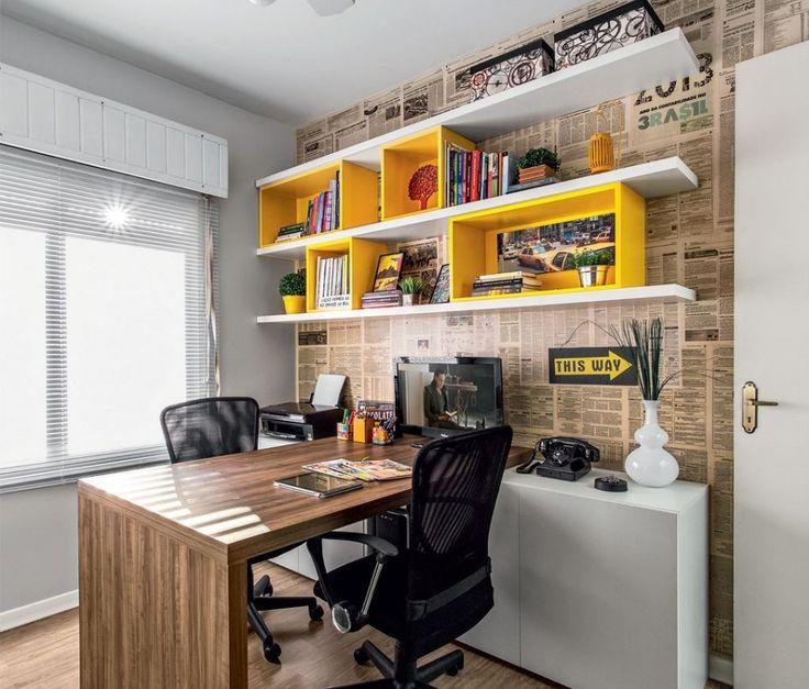 Faça você mesmo: Parede de Jornal | DIY / Faça você mesmo | Pinterest | Home Office, Home office design and Home office decor