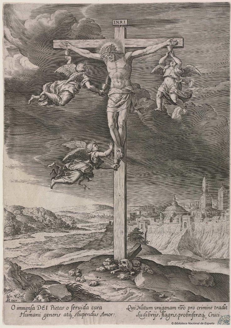 [Cristo en la cruz rodeado de tres ángeles que recogensu sangre]. Wierix, Hieronymus 1553-1619 — Grabado — 1572-1619?