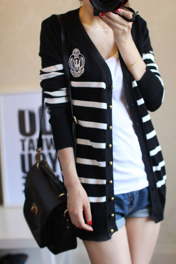 2012 autumn needle stripe sweater cardigan stripe navy style shirt female sweater outerwear 10% off $14.94
