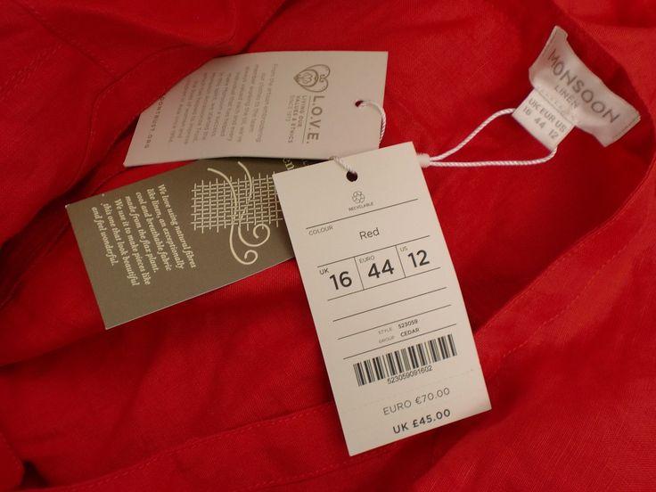 Monsoon RED Linen Tunic TOP SZ 16 | eBay