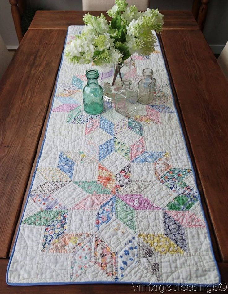 Fantastic STARBURST Vintage 30s Quilt Farm Table RUNNER 52x17