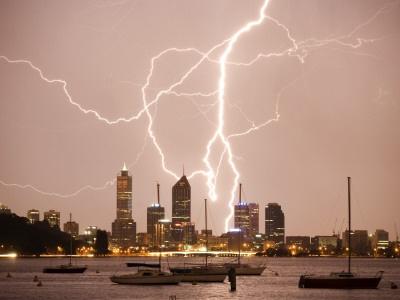 Lightning Stom over Perth SKyline Matilda Bay