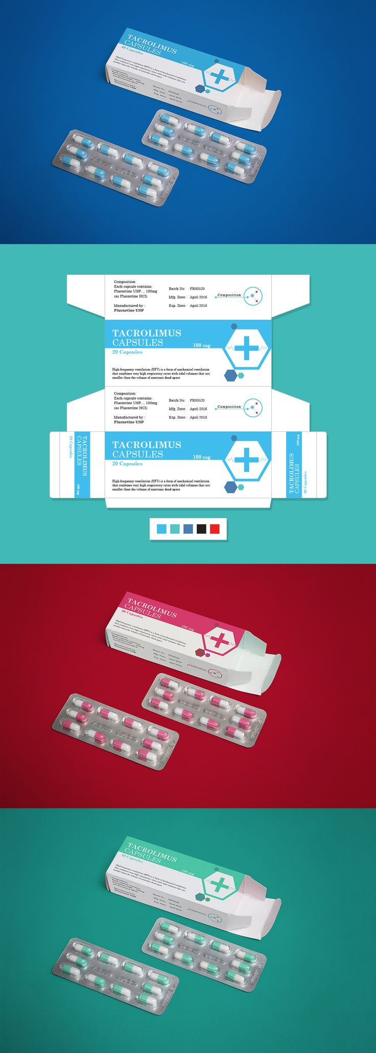 Pharmaceutical Medicine Packaging Design & Mock-Up PSD
