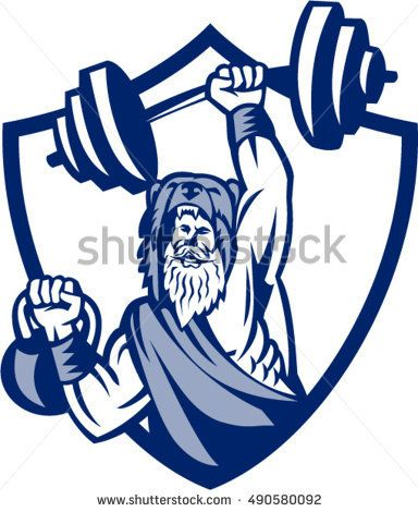 Illustration of a berserker, a champion Norse warrior wearing pelt of bear skin lifting barbell and kettlebell viewed from front set inside shield crest on isolated background done in retro style.  #berserker #retro #illustration