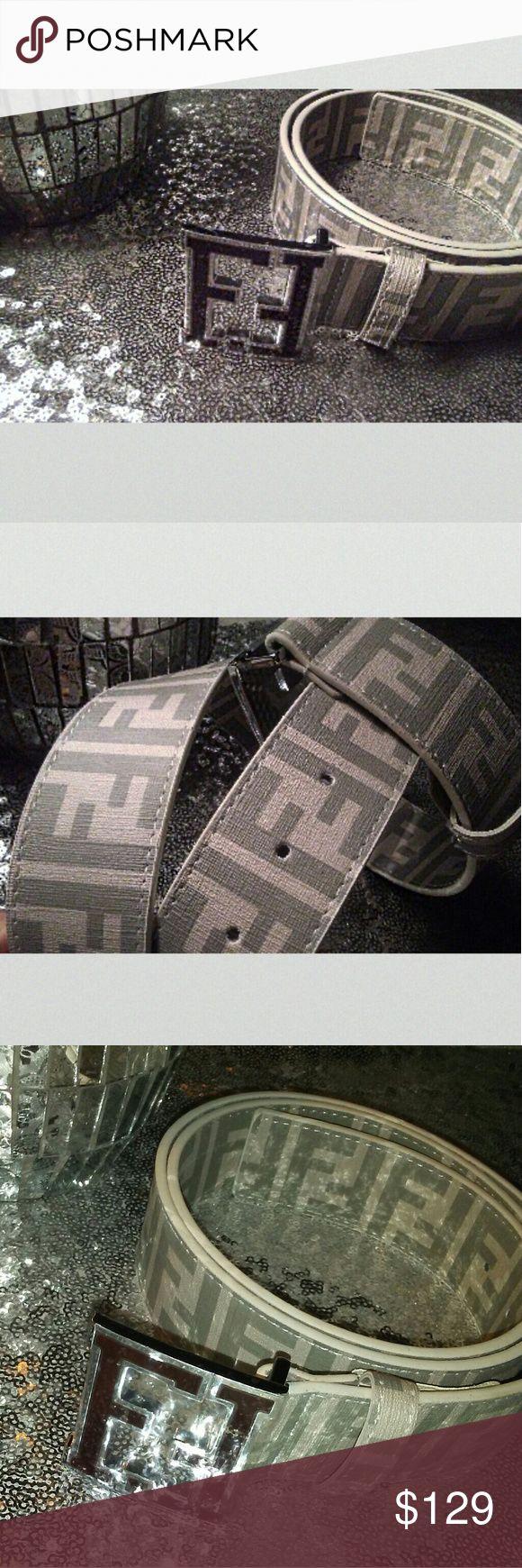 Fendi belt FF belt Zucca belt , Fendi women's belt. Men's Fendi belt. White belt. Beige belt. Silver belt. Grey belt. Luxury belt. 2016 belt. 2017 belt. Zucca belt. FF belt.  Men's Zucca. Fendi Accessories Belts