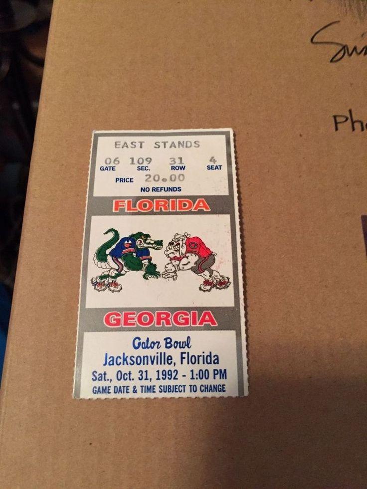 1992 College Football - Florida Vs Georgia Gator Bowl Jacksonville Ticket Stub #TicketStub