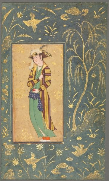 c.1600-1650. Youth Holding a Pomegranate; style of Riza-yi Abbasi (Iranian), opaque watercolor and gold on paper.