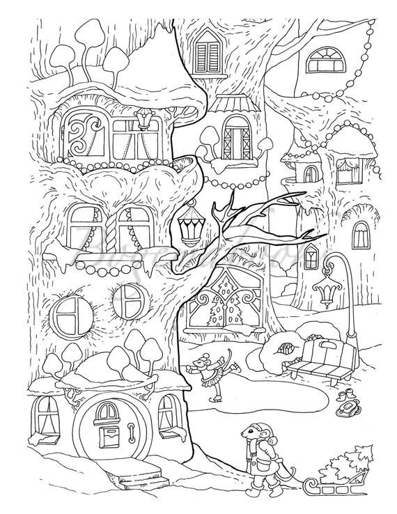 Nice Little Town Christmas 2: Adult Coloring Book (Stress