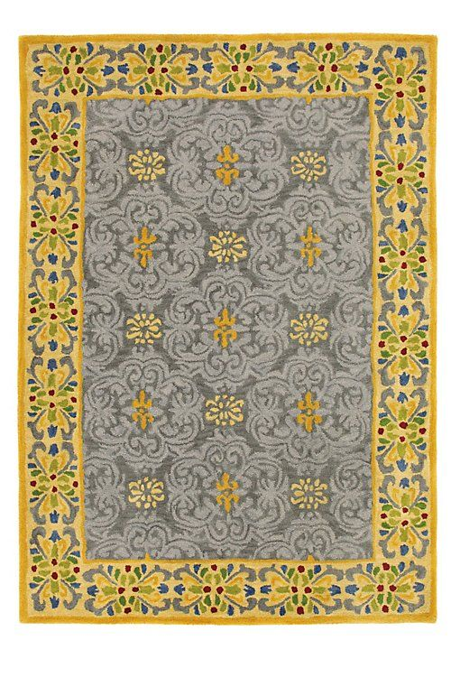 Pirouette Rug in Pewter (border Pattern, Rug Sample) | Handmade Area Rugs from Company C (New)