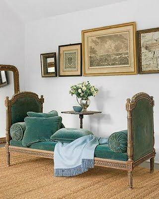 Green blue velvet day bed - Hey, I could do this with two twin headboards. - MRW