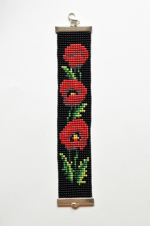 Check out this item in my Etsy shop https://www.etsy.com/listing/494617902/bead-loom-bracelet-poppys-bracelet-toho