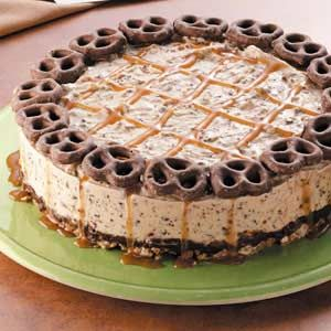 chocolate caramel pretzel ice cream cake.