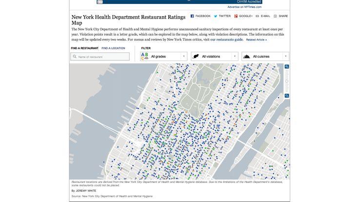 New York Health Department Restaurant Ratings Map