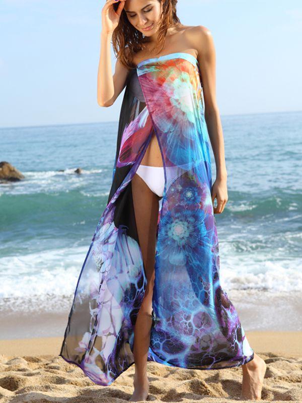 Details About Sexy Women Bohemia Chiffon Beach Swimwear