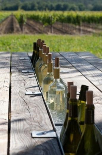 Picnic table with a built in wine cooler?? Awesome.