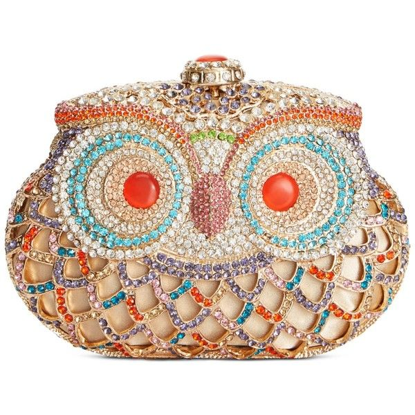 Sasha Jeweled Owl Minaudiere Clutch (70.825 CLP) ❤ liked on Polyvore featuring bags, handbags, clutches, owls, bags 2, purses, multi, rhinestone handbags, rhinestone studded handbags and jeweled handbags