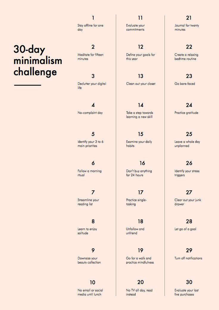 30-day minimalist challenge.