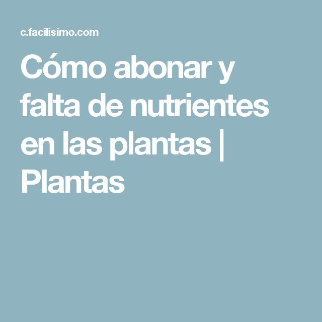 Cómo abonar y falta de nutrientes en las plantas | Plantas