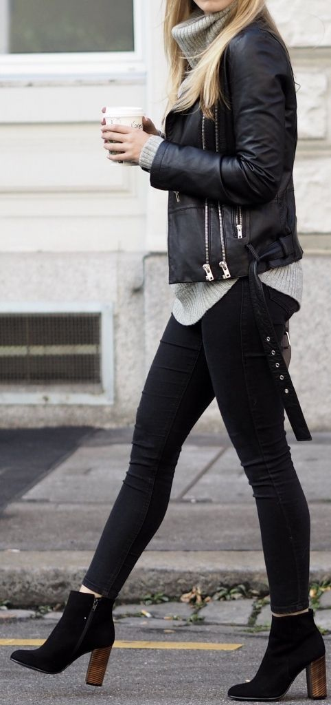 Black leather biker jacket, grey knit sweater, black skinnies, heeled boots 3