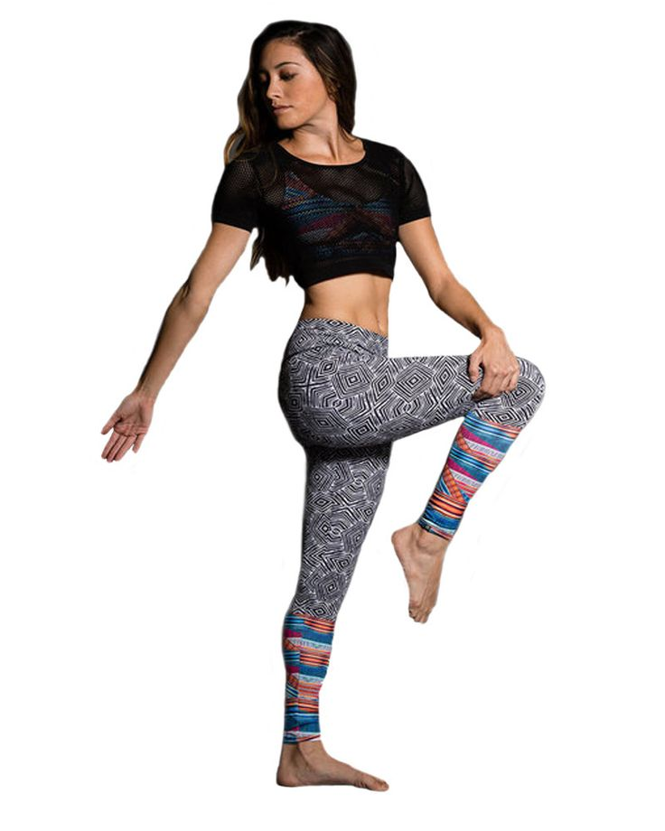 Fashion meets function with the Onzie Tribal Effect Legging. This unique design shouts complex and fun with its two pattern design. The tribal prints cover from the high band waist to just below the k