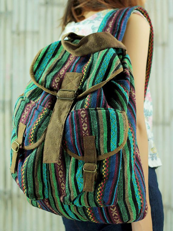Green ikat abstract tribal native design backpack /Ethnic rucksack /School Bag /holiday bag /Hippie bag / Boho/ Folk / Gypsy / tapestry bag