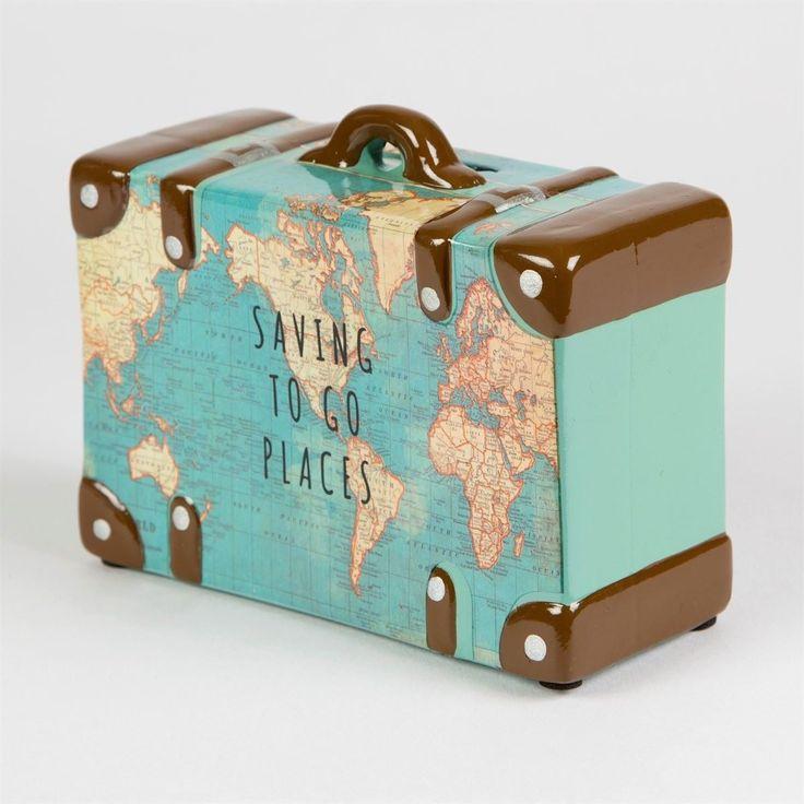 Wie cool! Spardose als Koffer mit Weltkarten Motiv #atlas #globus #affiliate #ve… – DIY Vintage