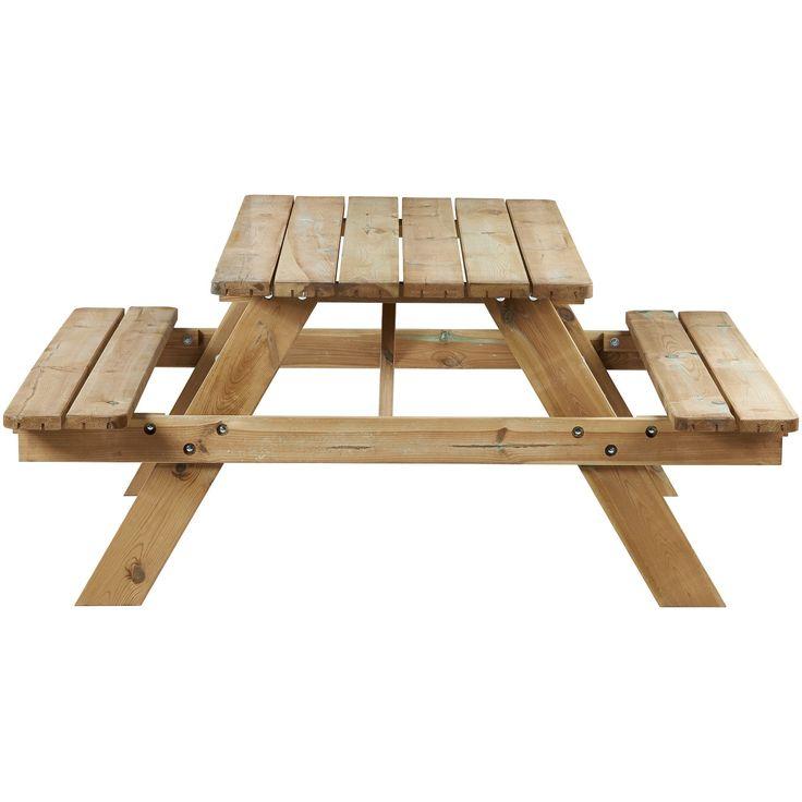 Handige houten picknicktafel met inklapbare banken. Afmeting: 150x150x66,5 cm (lxbxh). #tuin #tuintafel #picknicktafel #LenteKwantum