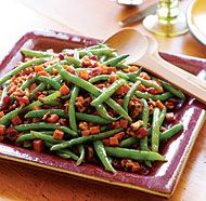 Roasted Sweet Potato with Green Beans, cranberries and toasted Walnut pieces.