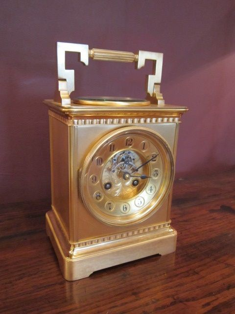 SUPERB LARGE VICTORIAN GILDED STRIKING CARRIAGE CLOCK