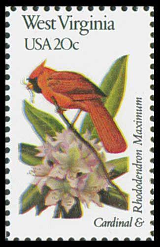 1982 W. VIRGINIA State Stamp - State Bird Cardinal & State Flower Rhododendron.