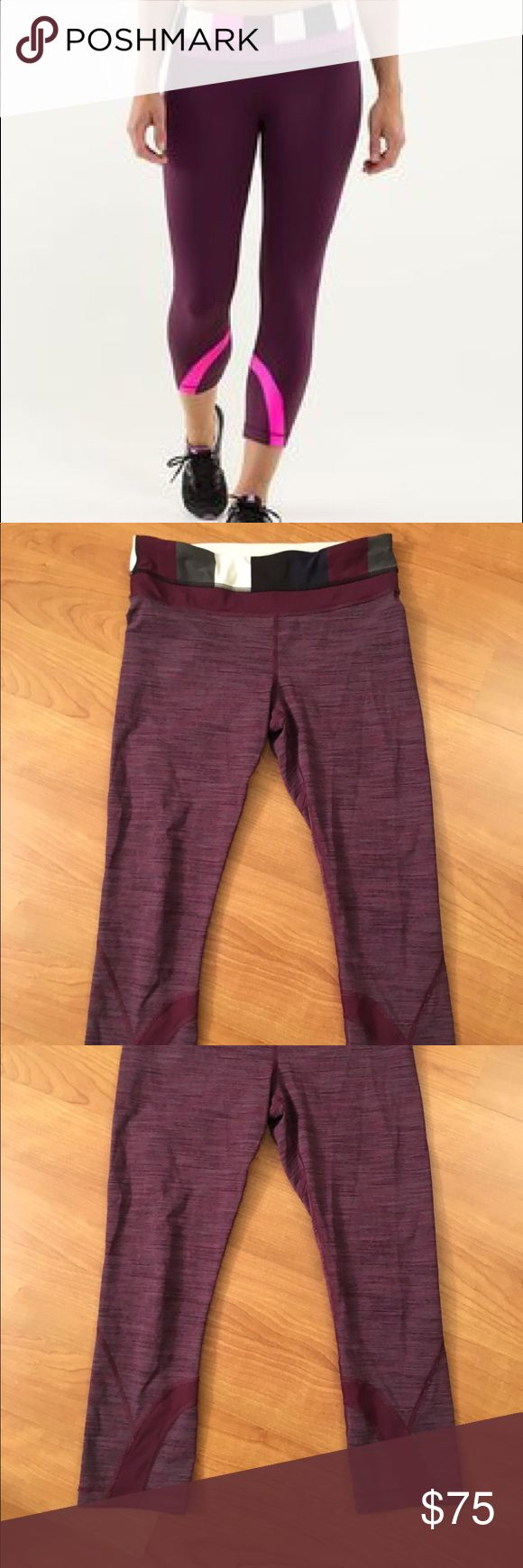Lululemon Burgundy Red Stripe Crop Inspire 4 6 This is a beautiful pair of Lululemon crops in size 4/6 (rip tag has been removed). Color in real life is a darker heather striped burgundy red, see close up photo, very similar style to that of stock photo. lululemon athletica Pants Capris