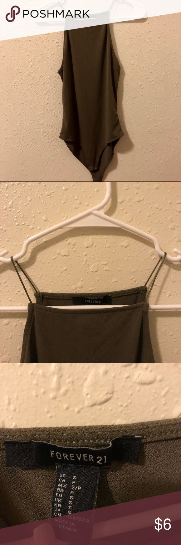 Forever 21 Olive Green bodysuit size S Forever 21 Olive Green bodysuit size S. In excellent used condition. Perfect for tucking into jeans for a night out. Forever 21 Tops Camisoles