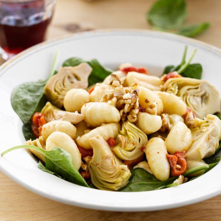 Gnocchis aux artichauts, épinards et tomates confites