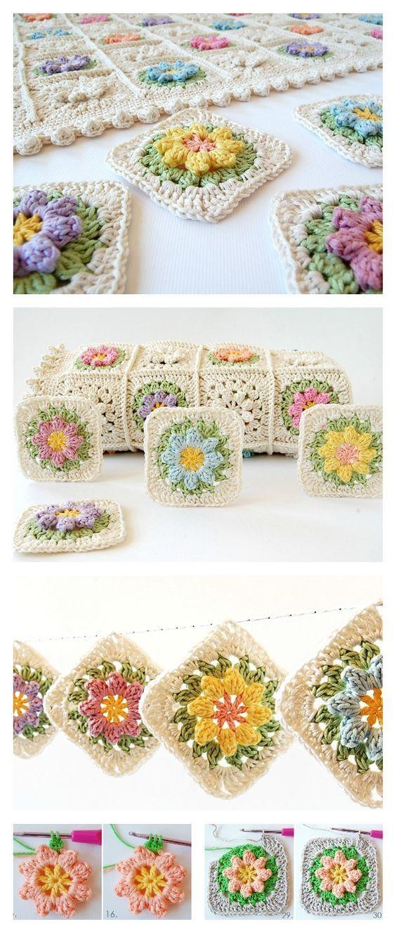 Crochet Primavera Flowers Granny Square bobble/puff dtotch Free Pattern and Tutorial