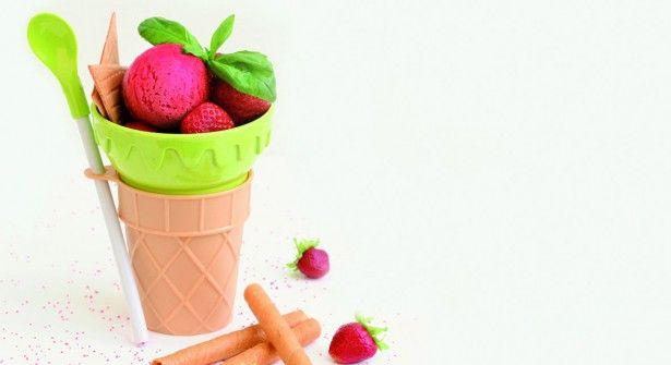 Sorbet à la fraise et au basilic