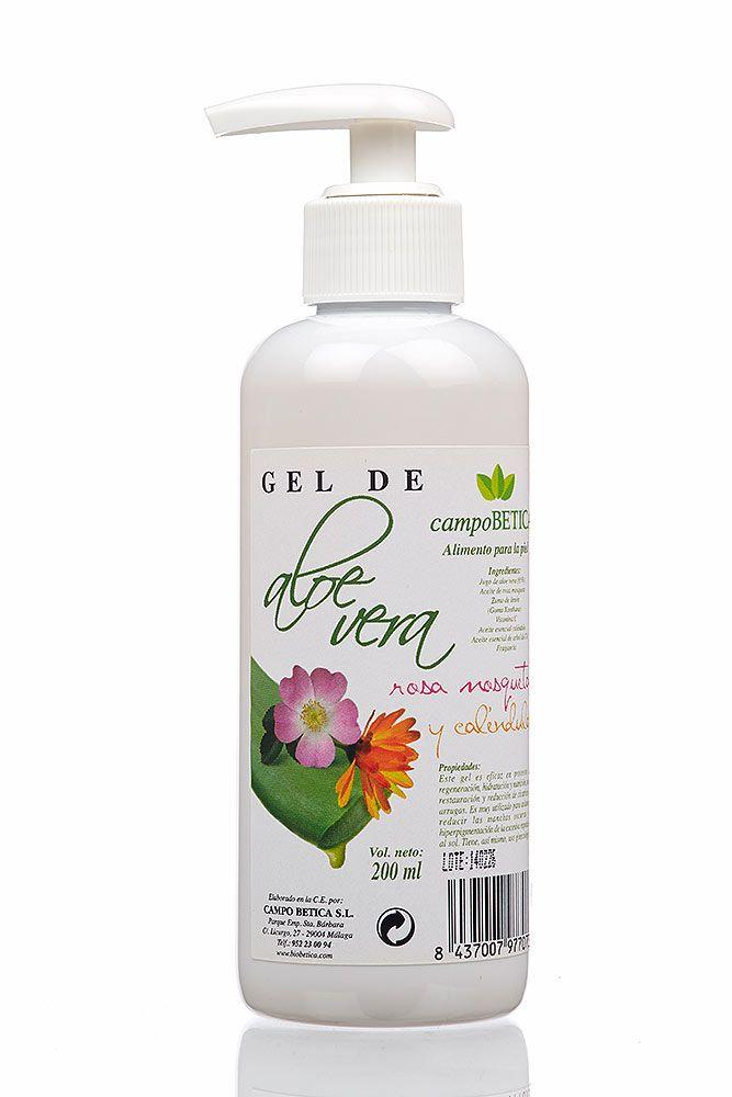 Aloe vera gel voor de huid. Deze ecologische aloe vera gel met rozenbottel olie,  zit in een handige spraybus van 200 ml.en is geproduceerd door de firma bioBética in Malaga.Deze firma is gespecialiseerd in het aanmaken van ecologische producten.