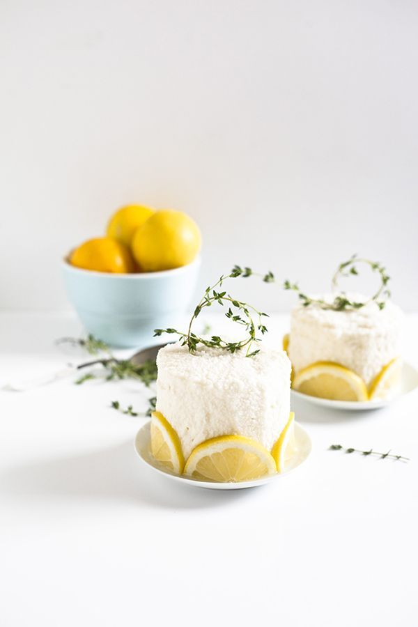 Looking for a garden party dessert? Try Healthfully Ever After's brightly herbaceous lemon-thyme curd cakes!
