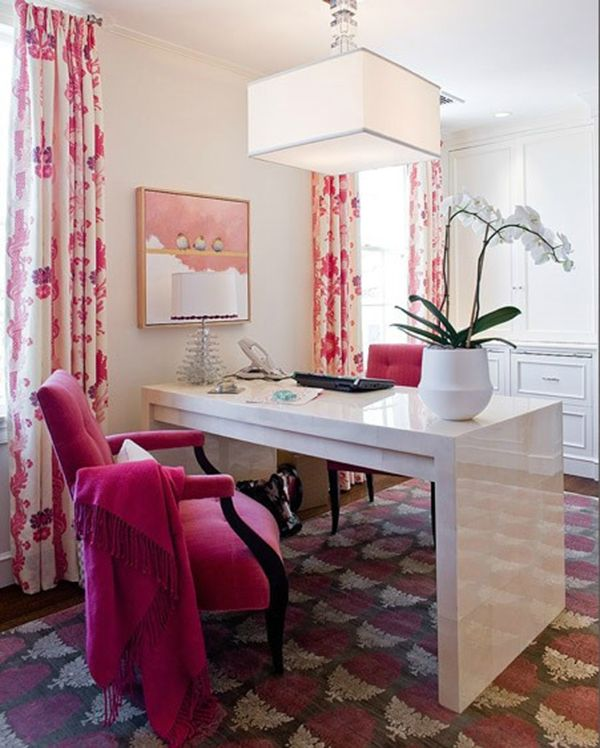 Home Office - White lacquered parsons desk with pink upholstered chair, chandelier with pink & white patterned drapery and carpet.   Love the ambiance with the combo of the palette and furnishings.  My kinda office.