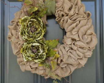 green burlap wreaths for sale   Green Peony Burlap Wreath--Fall Burlap Wreath--Year Round Burlap ...