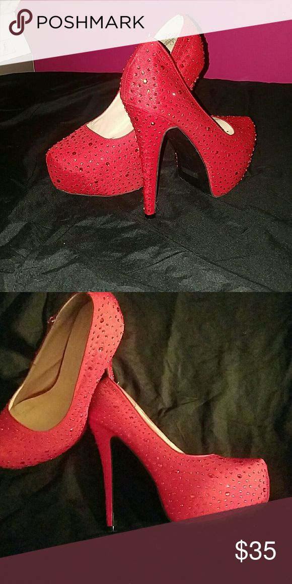 Women's Red Rhinestone High Heels Red Rhinestones all over the entire shoe, very nice and elegant pump an absolutely  beautiful shoe (only worn once) De Blossom Collection Shoes Heels