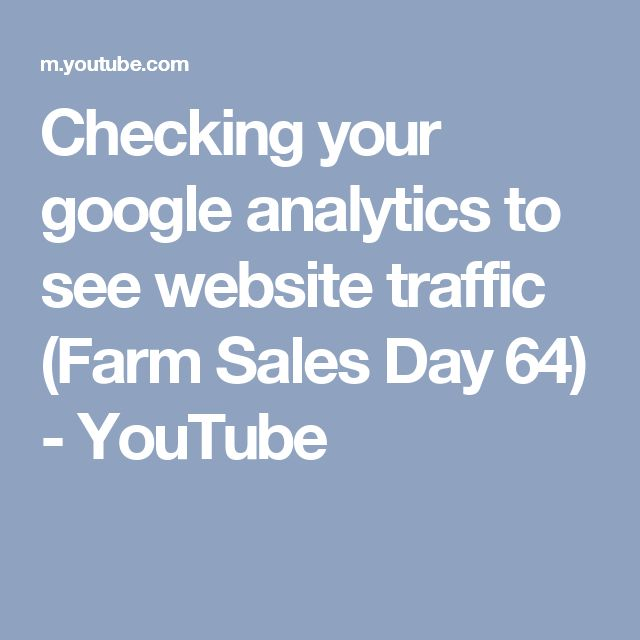 Checking your google analytics to see website traffic (Farm Sales Day 64) - YouTube
