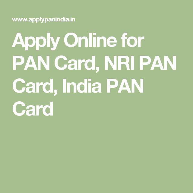 Apply Online For PAN Card, NRI PAN Card, India PAN Card